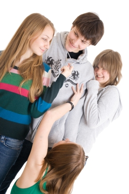 Group of teenagers isolated on a white